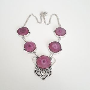 Pink Solar Quartz Sterling Silver Necklace